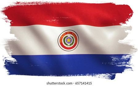 Paraguay flag with fabric texture. 3D illustration.