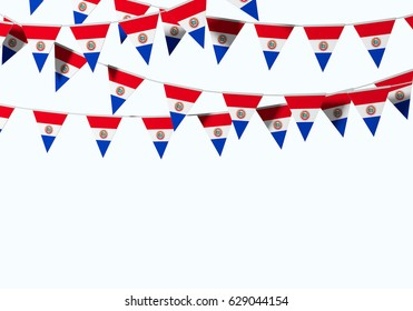 Paraguay flag festive bunting against a plain background. 3D Rendering