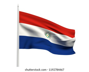 Paraguay flag floating in the wind with a White sky background. 3D illustration.