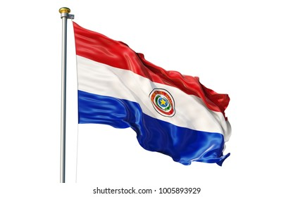Paraguay flag. Isolated 3d Paraguay flag