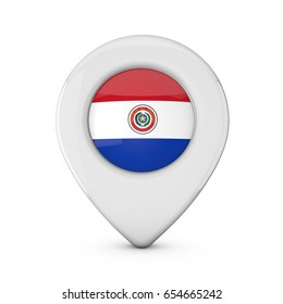 Paraguay flag location marker icon. 3D Rendering