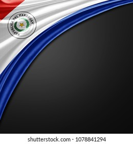 Paraguay flag of silk with copyspace for your text or images and black background -3D illustration
