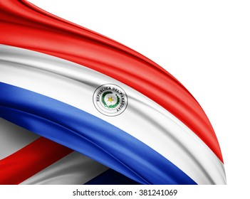 Paraguay  flag of silk with copyspace for your text or images and white background