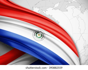 Paraguay  flag of silk with copyspace for your text or images and world map  background