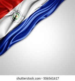 Paraguay flag of silk with copyspace for your text or images and white background-3D illustration