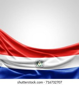 Paraguay  flag of silk with copyspace for your text or images and white background -3D illustration