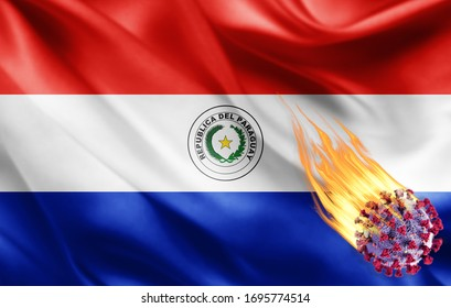 Paraguay flag of silk with Covid-19 Coronavirus and fire flames -3D illustration