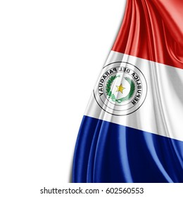 Paraguay flag of silk and white background-3D illustration