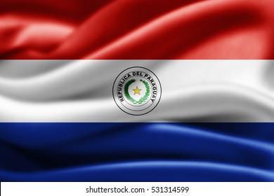 Paraguay flag of silk-3D illustration