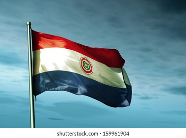 Paraguay flag waving on the wind