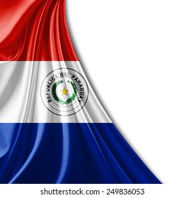 Paraguay flag and white background