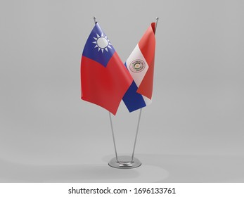 Paraguay - Taiwan Cooperation Flags, White Background - 3D Render
