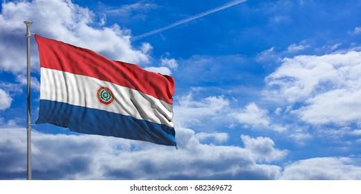 Paraguay waving flag on blue sky background. 3d illustration
