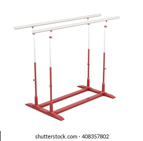 Parallel bars for gymnastics isolated on white background. 3d render image.