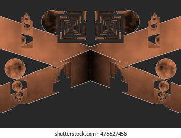 parallel dreams,symmetrical composition, kaleidoscopic, mirror effect,geometric composition tribute to Tesla, coppery color, dark background,illustration, spirals twist,  abstract expressionism,