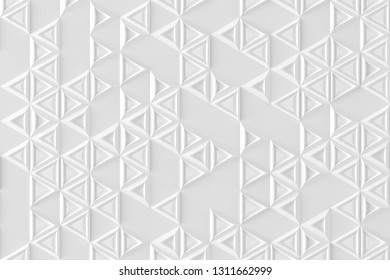 Parametric background based on triangular grid with different pattern of different volume 3D illustration
