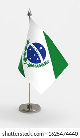 Parana table flag on a white background. Parana, state of Brazil, 3d render.