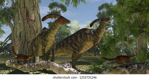 Parasaurolophus in The Forest 3D illustration - Two Parasaurolophus dinosaurs browse on foliage of the Montezuma Cypress tree as Cronopia mammals scurry to safety.