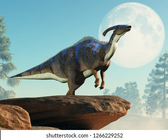 A parasaurolophus, a type of herbivorous ornithopod dinosaur of the hadrosaur family stands on two legs and calls out.  It stands out on a rocky cliff with the daytime moon behind it. 3D Rendering