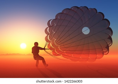 Parashutist a parachute in the sky., 3d render