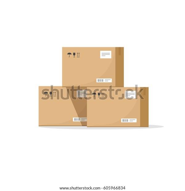 Verpackungskartongrafik, Lagerteile, Kartonfrachtkästen, Verpackungskartondesign auf Papier einzeln auf Weiß