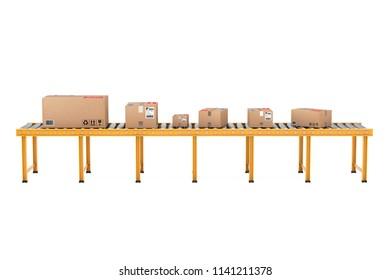 Parcel Cardboard Boxes over Roller Conveyor Line on a white background. 3d Rendering