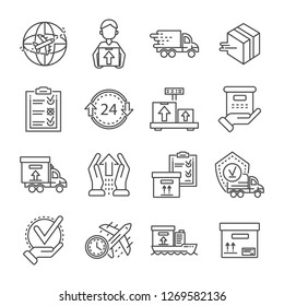 Parcel dellivery icon set. Outline set of parcel dellivery icons for web design isolated on white background