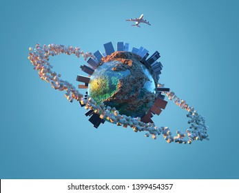 parcels flying around the planet, 3d illustration