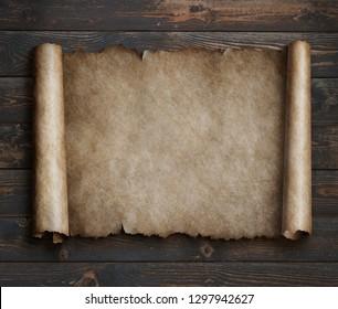 parchment on wood table 3d illustration