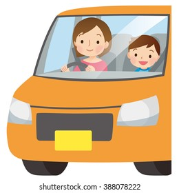"""Parent and child driving a light car """"mom driver"""""""