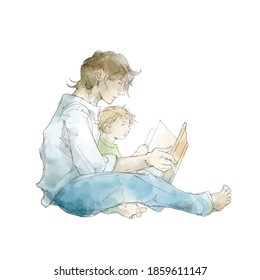 Parent and child reading picture books
