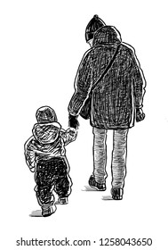 A parent with his kid go for a walk
