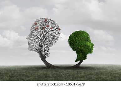 Parent loss or the death of a father or mother as a child and adult shaped as a tree as a psychology symbol of parenthood problems with 3D illustration elements.