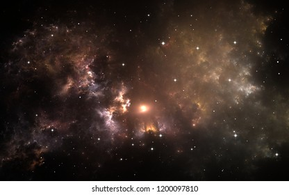 The parent supernova of our Solar System. Interstellar cloud of dust and gas. Space background with nebula and stars. 3d illustration