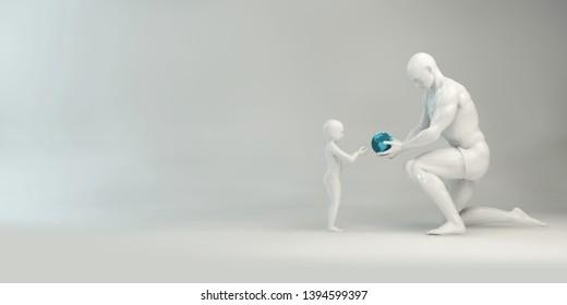 Parental Guidance and Positive Parenting Child Development 3D Render