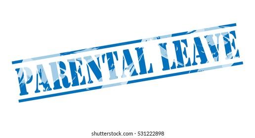 parental leave blue stamp on white background