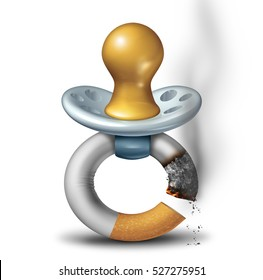 Parenting and smoking concept as a baby pacifier shaped as a it smoking cigarette as a dangerous second hand smoke habit symbol or carbon monoxide icon with 3D illustration.