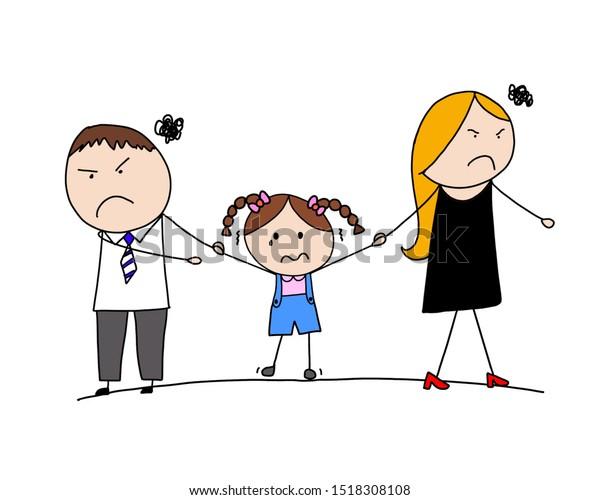 Parents Divorce Sad Child Crying Family Stock Illustration 1518308108
