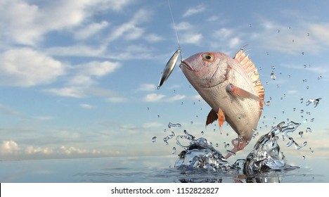 Pargus Snapper out of sea jumped for lure jig bait, great sea view 3d rendering