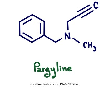 Pargyline is an irreversible selective monoamine oxidase (MAO)-B inhibitor drug (IC50 for MAO-A is 0.01152 µmol/L and for MAO-B is 0.00820 µmol/L). Illustration