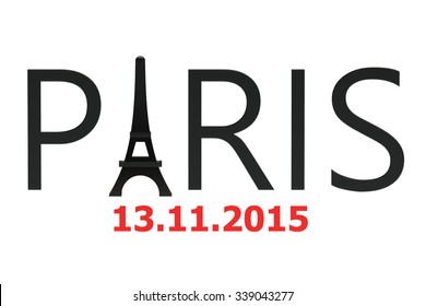 Paris attacks november 2015 concept isolated on white background