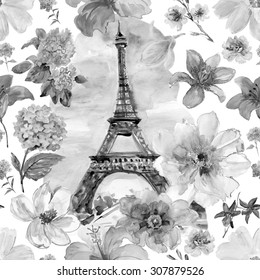 Paris in blossoming. Watercolor  seamless pattern