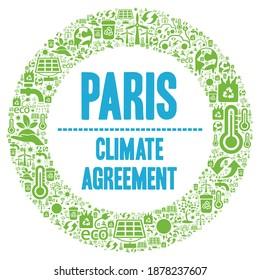 Paris climate agreement symbol illustration