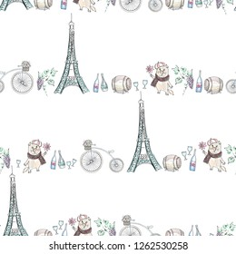 Фотообои Paris cute seamless pattern