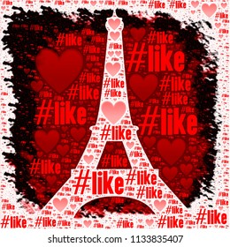 Paris eiffel tower silhouette with like words illistration image