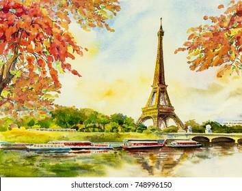 Paris european city landscape. France, eiffel tower famous, with romantic the Seine river view in autumn, Watercolor painting illustration, skyline background. world landmark