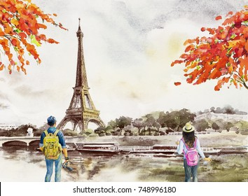 Paris european city landscape. France, eiffel tower and man, woman, tourist take photos for vacation romantic the Seine river view, Watercolor painting illustration vintage background. world landmark