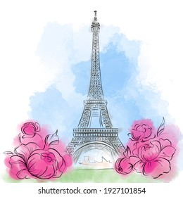 Paris France Eiffel Tower watercolor illustration. Spring flowers in the city of love. Champs Elysees view
