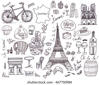 Paris and France symbols set in sketching black pen style