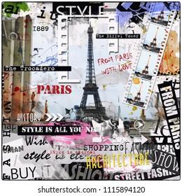 PARIS, FRANCE. Vintage illustration with  Eiffel Tower.